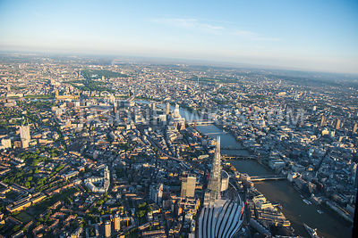 Aerial view of City of London, River Thames and The Shard.