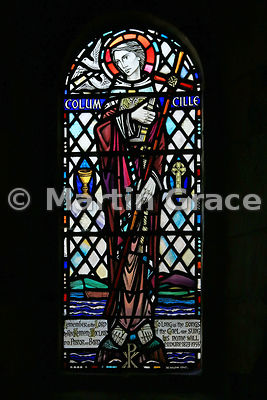 Stained glass window of St Columba, Iona Abbey Church, Iona, Inner Hebrides, Scotland