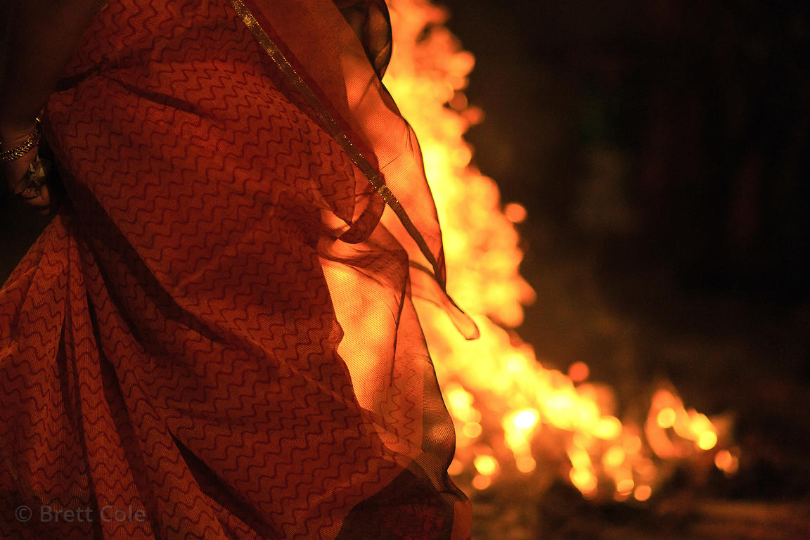 Bonfire during the obervance of Holika Dahan, Pushkar, Rajasthan, India