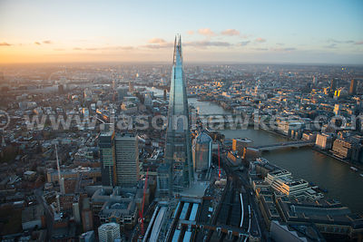 Aerial view of The Shard and London Bridge at dusk, London
