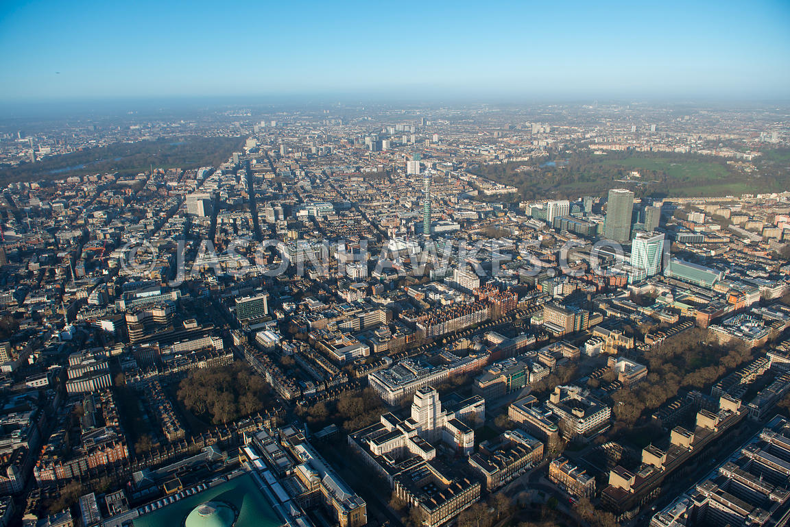 Aerial view of Fitzrovia, London