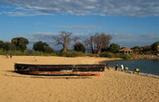 fishing boat lying on the beach, Likoma Island, Lake Malawi, Malawi