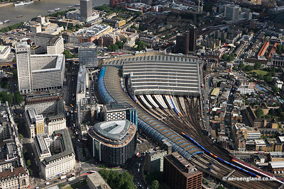 aerial photograph of Waterloo International railway station London England UK showing Park Plaza Westminster Bridge London 200 Westminster Bridge Rd, London SE1 7UT, Addington St, SE1 7RY, the  Shell Centre ,Waterloo Retail Centre, 51-53 York Rd, London SE1 7NJ  and Lower Marsh, London SE1 7RG