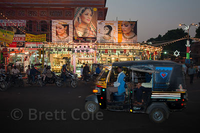 Night scene near jewelry shops in Jaipur, Rajasthan, India