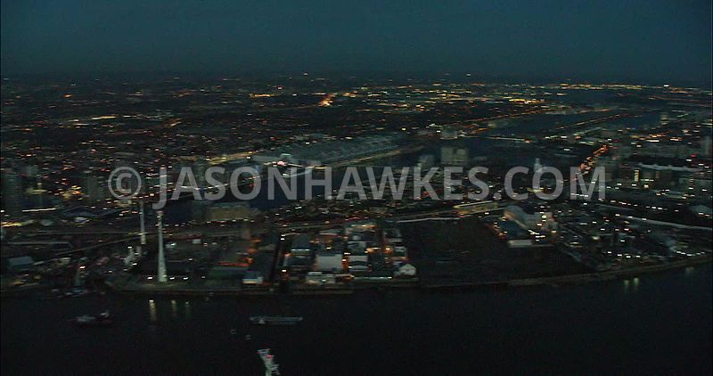 London Aerial Footage of Greenwich and River Thames.