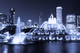 Photo of Chicago at Night with Buckingham Fountain