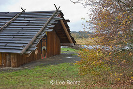 The Cathlapotle Plankhouse, a representation of a traditional native dwelling seen near here by Lewis and Clark, Ridgefield N...