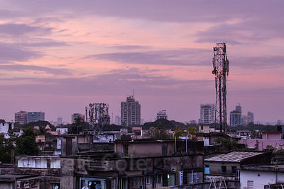 Sunset skyline in the Lake Gardens area of Kolkata, India.