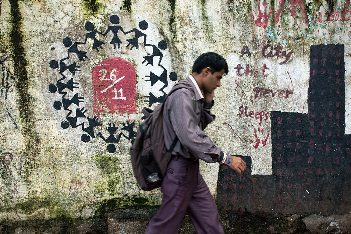 Graffiti encouraging peace, in response to the 26.11 attacks on Mumbai, on a wall in Lower Parel, Mumbai, India.