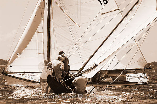Argument approaches Shona during the early tacking of S-boats at the annual Herreshoff Rendezvous in upper Narragansett Bay.