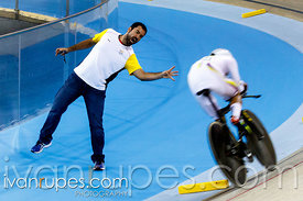 A coach encouraging Fernando Gaviria (Colombia) at Men's Omnium Individual Pursuit, Track Day 1, Toronto 2015 Pan Am Games, M...