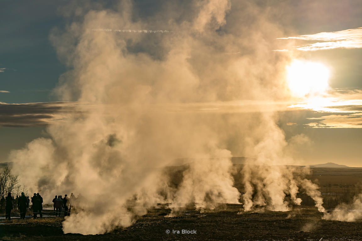 Steam at the Geysir in southwestern Iceland.