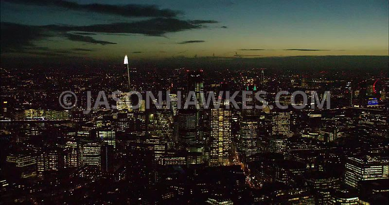 London night aerial footage, City of London skyline at night.