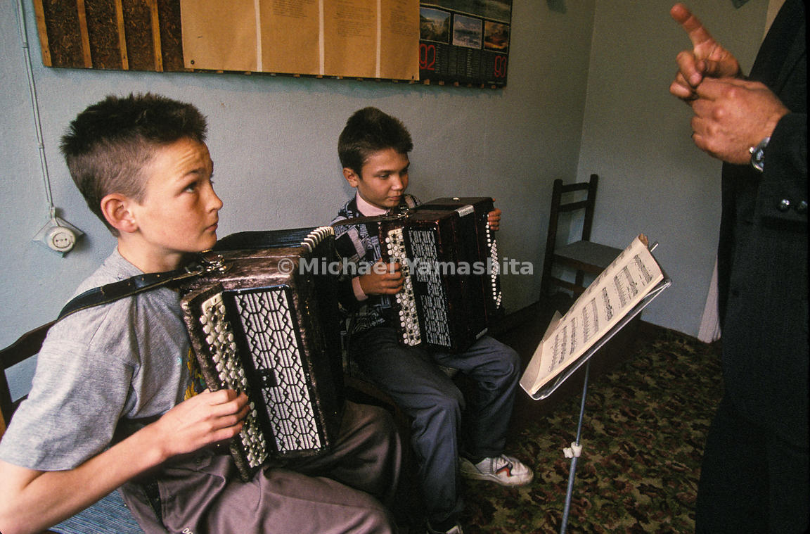 Students take accordion lessons.