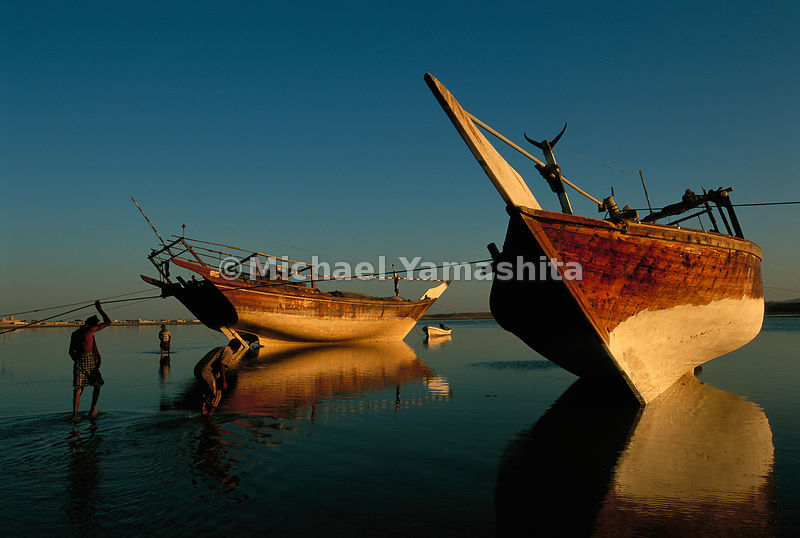 Fishermen, waiting for high tide, inspect the hulls of their wooden dhows.  Sur, Oman