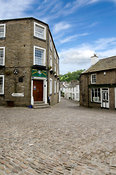George and Dragon Pub and cobbled street in Village Centre Dent Dentdale Yorkshire Dales National Park