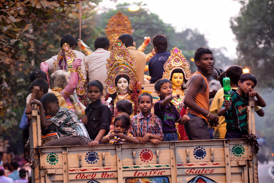Durga Puja immersion at Babughat on the Hooghly River, Kolkata, India.