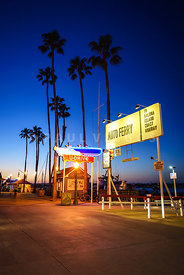 Newport Beach Auto Ferry Sign at Sunset