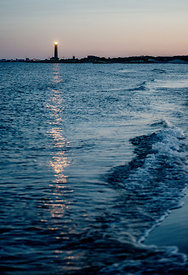 Lighthouse lighting in the twilight