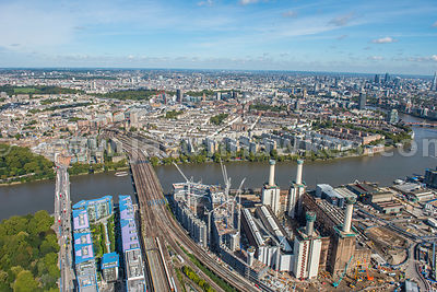 Aerial view of the Battersea Power Station redevelopment, London