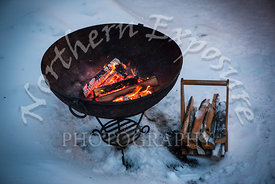 Brazier in the snow