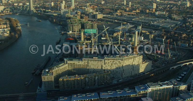 Aerial footage of the redevelopment at Nine Elms