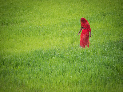 A woman walks in a field