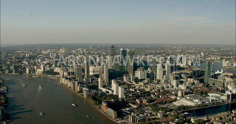 London Aerial Footage of Canary Wharf and 1 Canada Square.