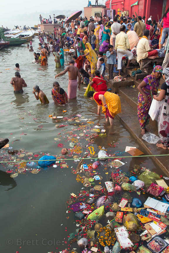 Trash in the Ganges River, Dashashwamedh Ghat, Varanasi, India