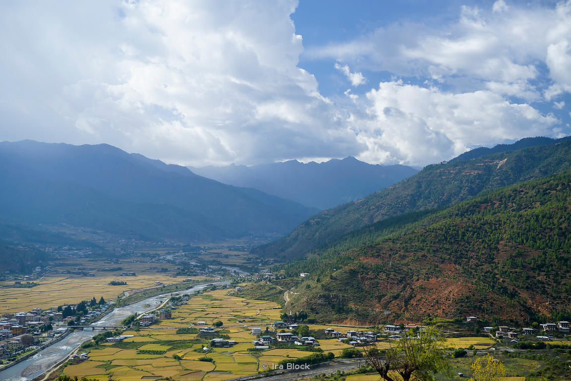 View of Paro and the Paro Chhu river in Paro District, Bhutan.