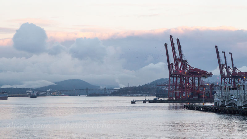 Vancouver harbour on a calm, cloudy, autumn evening, just before night falls. The water is calm. Large red cranes stand at th...