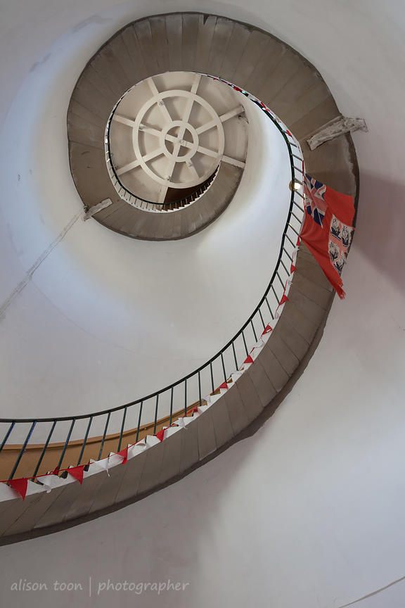 Looking up at the stairs inside Happisburgh Lighthouse
