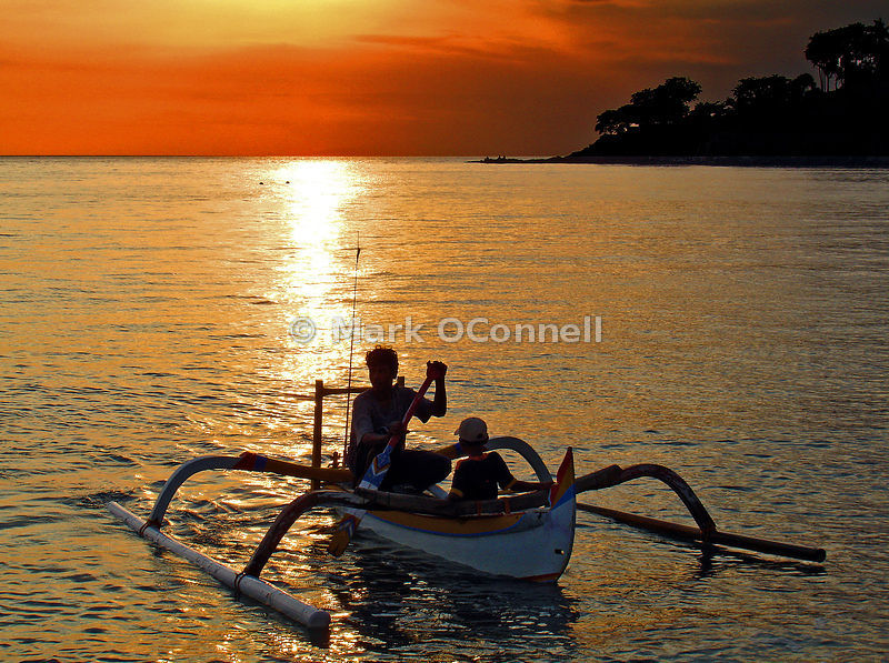 Sunset fishing in Bali Indonesia
