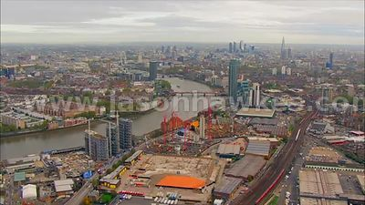 Aerial footage of the Nine Elms regeneration site and Vauxhall, London