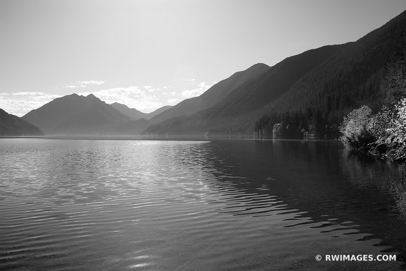 LAKE CRESCENT OLYMPIC NATIONAL PARK WASHINGTON BLACK AND WHITE