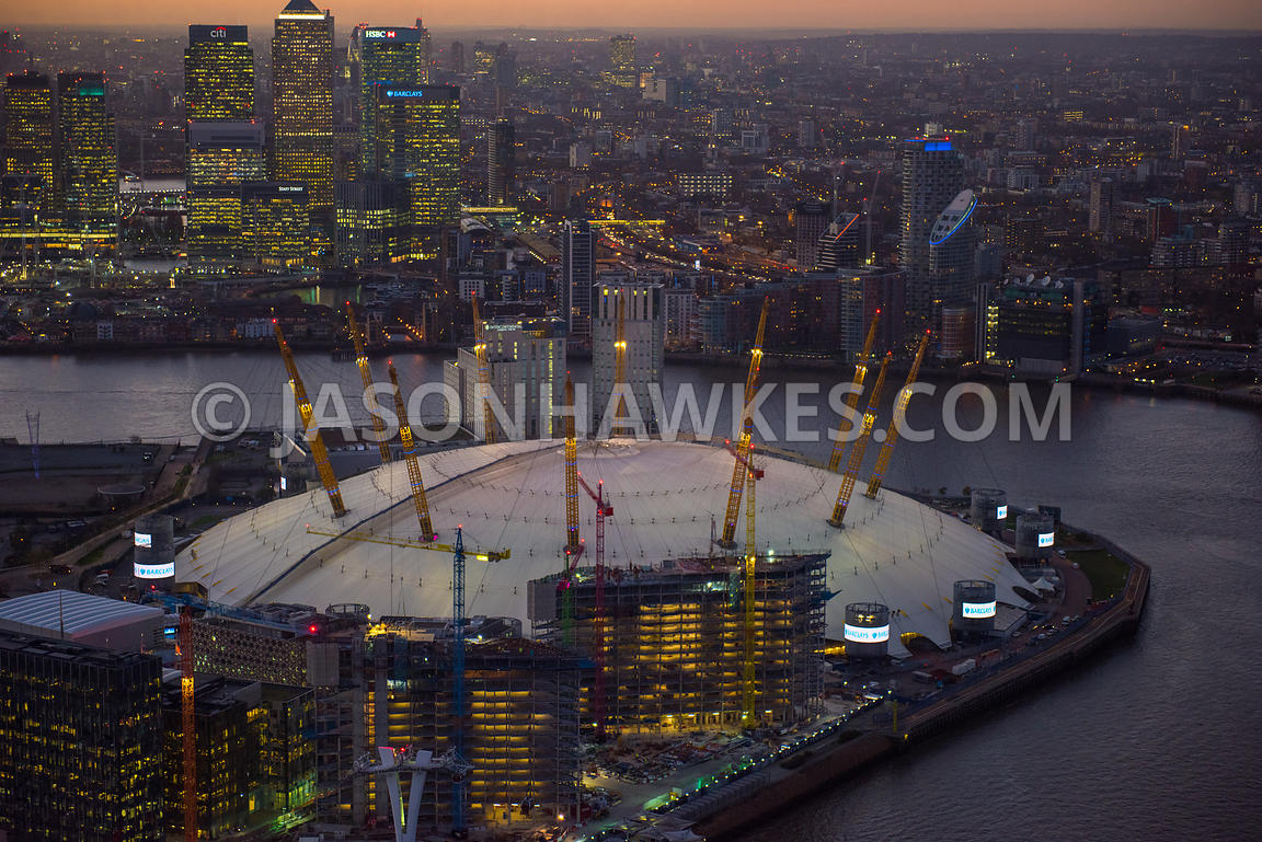 Aerial view of the O2, Greenwich Peninsula, London. The Intercontinental O2 . InterContinental London - The O2 - IHG