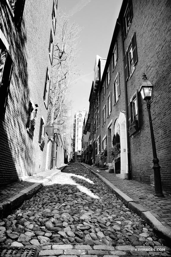 HISTORIC BOSTON BEACON HILL ACORN STREET COBBLESTONE STREET BLACK AND WHITE VERTICAL