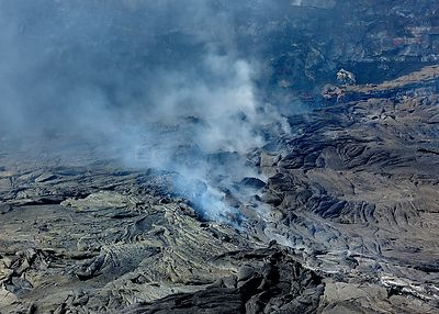 Aerial view of solidified lava and steam from the  Erta ale volcano (the smoking mountain) in the Afar desert, Northern Ethio...