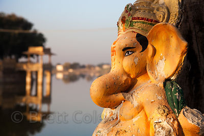 Ganesh idols on the banks of Gadi Sagar, Jaisalmer, Rajasthan, India