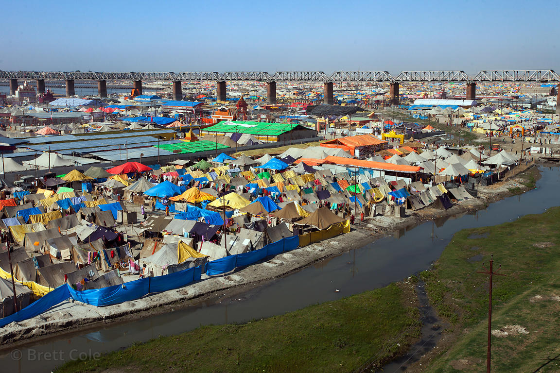 General view of tents at the 2013 Kumbh Mela, Allahabad, India.
