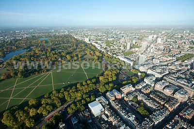 Aerial view over Hyde Park and Marble Arch, London