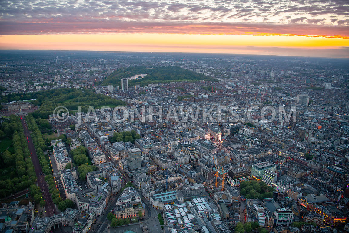 Aerial view of St James's, St James's Square, Leicester Square, Piccadilly Circus, and Pall Mall, London