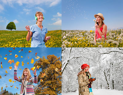Four seasons of woman playing outdoors