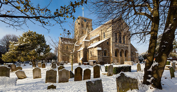 St Mary de Haura Church in the snow, Shoreham-by-Sea, West Sussex , UK