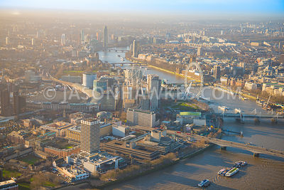 Aerial view of London, Southbank, River Thames with Waterloo Bridge towards London Eye.
