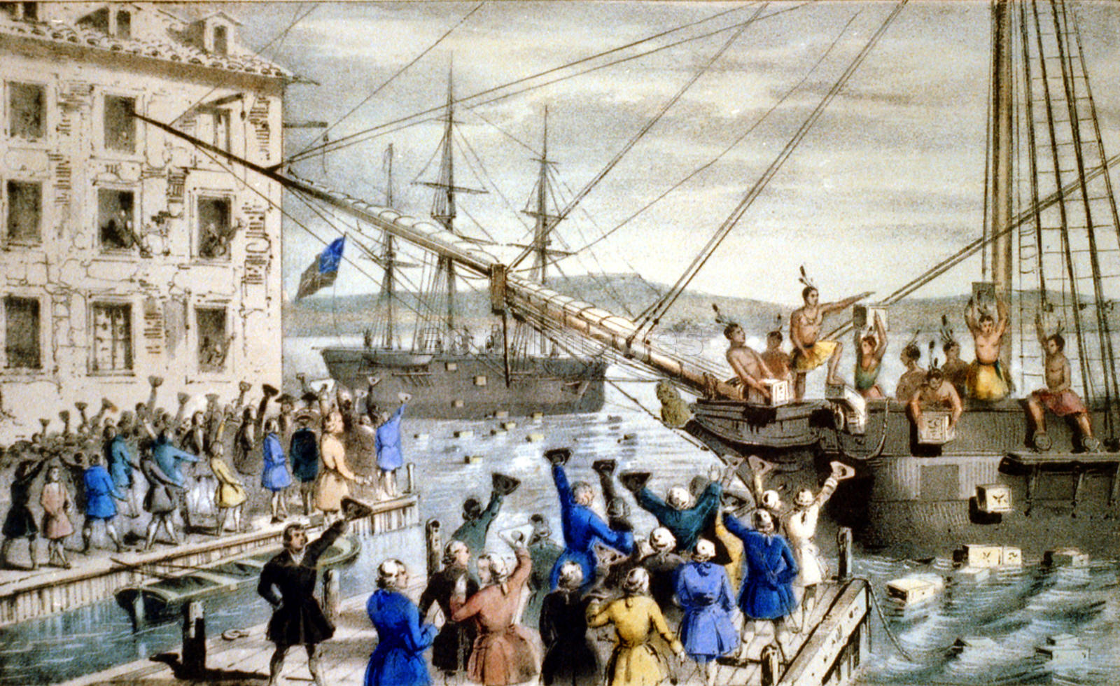 Patriots destroy tea at Boston Harbor