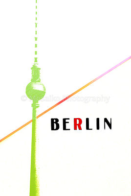 Berlin Vintage postcard - tv tower and letters on abstract background