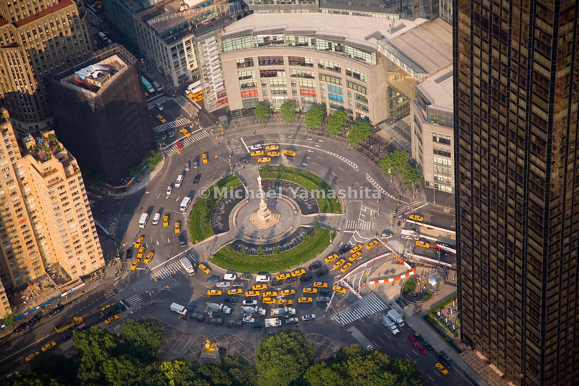 Columbus Circle is a major traffic hub and gateway to Central Park; the monument in the center is dedicated to Christopher Co...
