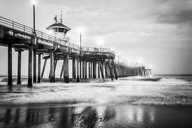 Huntington Pier Black and White Picture