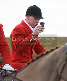 David Manning recording the meet - The Belvoir Hunt at Sheepwash 31/12